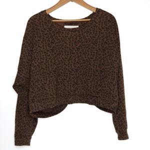 OBEY | Leopard Print Open Back Cropped Sweatshirt